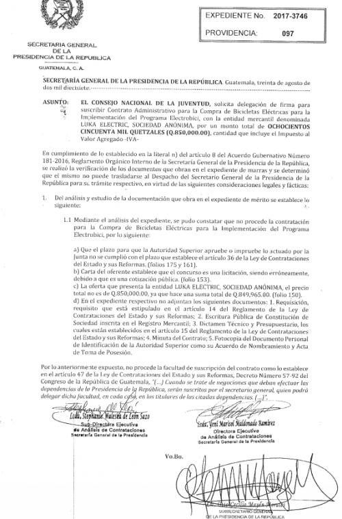 Respuesta de la Secretaría General al proceso. (Foto: Guatecompras)