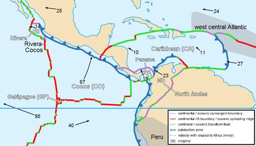 Placas de la región centroamericana. (Foto: Wikimedia)