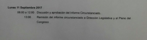 El informe de la Comisión será remitido al pleno  del Congreso este 11 de septiembre.