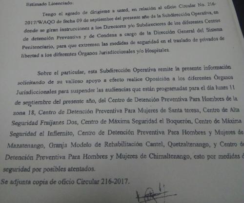 """Este es parte del documento de Presidios en el que se alerta de """"posibles atentados"""". (Foto: Soy502)."""