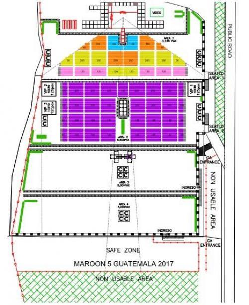 Localidades del concierto de Maroon 5. (Diseño: SD Concerts)