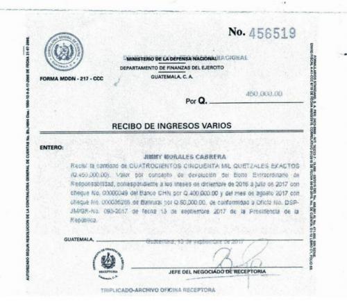Notificación del ingreso recibido. (Foto: Ejército)