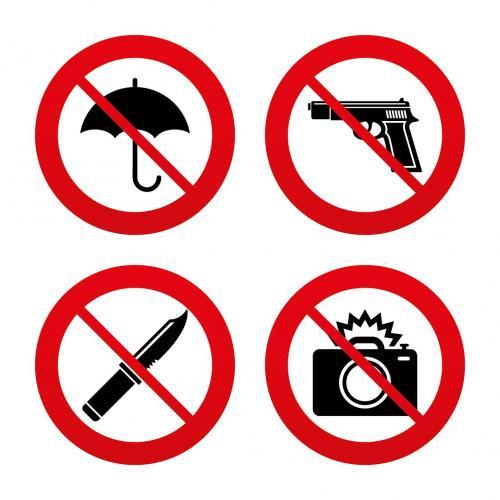 No es permitido el uso de cámaras profesionales o llevar armas al concierto. (Diseño: archivo/Soy502)