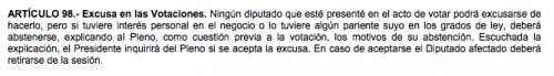 Artículo 98 de la Ley Orgánica del Organismo Legislativo.