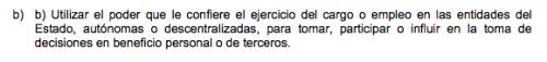 Artículo 18 inciso b) de la Ley de Probidad y Responsabilidad de Funcionarios y Empleados Públicos.