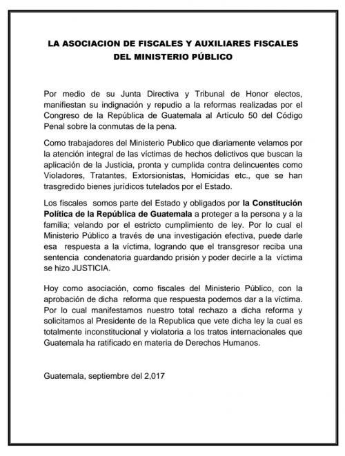 La Asociación de Fiscales y Auxiliares Fiscales del MP se unieron a las muestras de indignación.