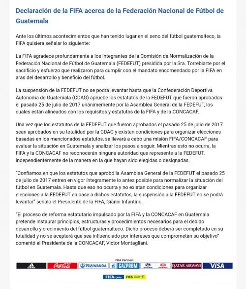 Mensaje enviado por FIFA que no levanta suspensión a la Fedefutbol de Guatemala. (Foto: Soy502)