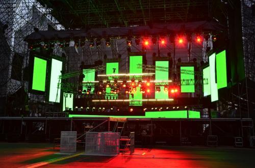 Así lucía el escenario donde sería el concierto de Maroon 5. (Foto: Selene Mejía/Soy502)