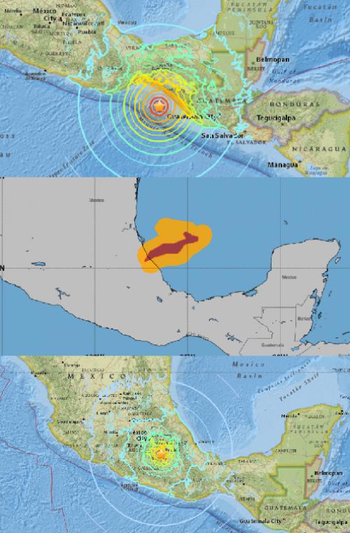 Las imágenes de arriba y abajo corresponden a los terremotos del 7 y 19 de septiembre; mientras que la del centro, al huracán Katia. (Imágen: CNN)