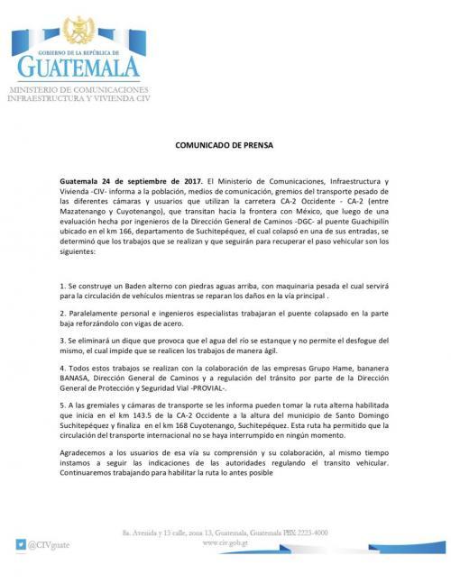 Este es el comunicado del Ministerio de Comunicaciones.