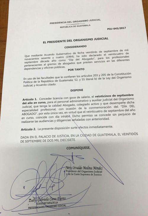 Esta es la nota de autorización del permiso que se concedió para este lunes 25 de septiembre. (Foto: Soy502).