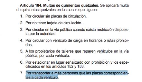 Esto dice el reglamento sobre el transporte de más personas que las correspondientes para cada vehículo. (Foto: Soy502)