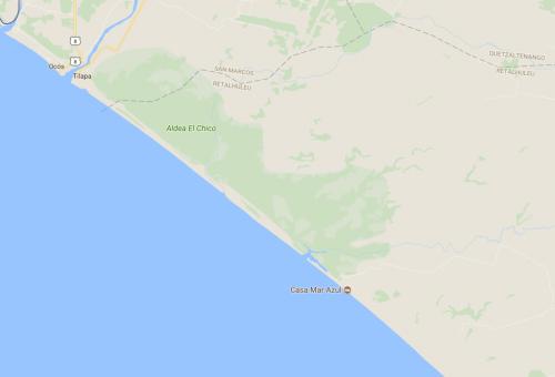 Este es el área que ocupa el Manchón Guamuchal, que une Retalhuleu con la zona costera de San Marcos. (Foto: Google Maps)
