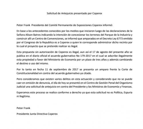Comunicado de Prensa de Coperex.