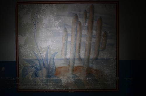 """Una de las habitaciones tiene este mural con dos letras """"k"""" como firma. (Foto: Selene Mejía/Soy502)"""