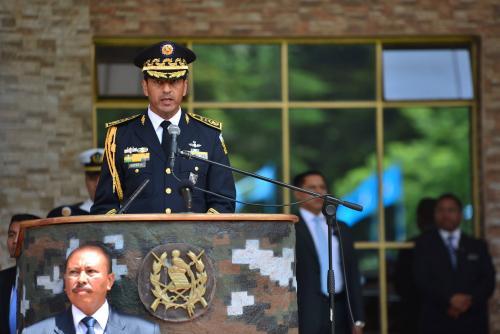 López Ambrosio durante su discurso en el acto de retiro militar en julio de 2015. (Foto: archivo/Soy502)