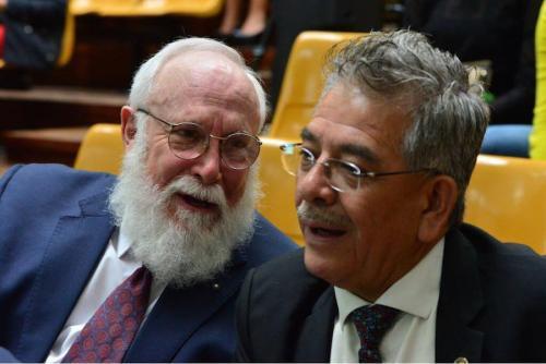 Dos postulantes para encabezar el MP: el abogado Acisclo Valladares y el juez Miguel Ángel Gálvez. (Foto: Jesús Alfonso/Soy502)