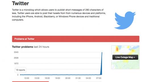 Así fue reportada la falla en la página especializada en redes sociales. (Foto: captura de pantalla)
