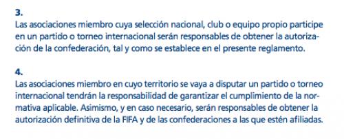Los puntos 3 y 4 del artículo 4 del Reglamento FIFA de Partidos Internacionales. (Foto: Captura)
