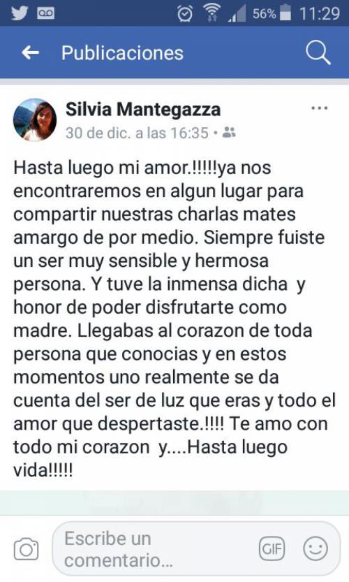 Este es el mensaje que escribió la madre de Fernando, quien fue víctima de su exnovia. (Foto: Clarín)