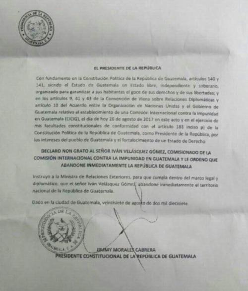 Así declaró non grato el presidente Jimmy Morales al comisionado Iván Velásquez, titular de la Cicig. (Foto: Soy502)