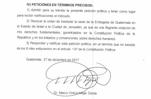 En la carta Marco Vinicio Mejía Dávila pide al presidente Jimmy Morales revocar su orden de trasladar la embajada de Guatemala hacia Jerusalén. (Foto: Captura de pantalla)