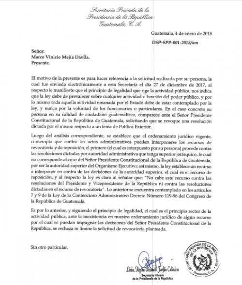 El 4 de enero el presidente Jimmy Morales respondió a través de la Secretaría Privada que sus decisiones no son impugnables. (Foto: Captura de pantalla)