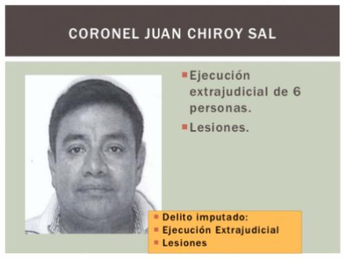 A Chiroy se le señala de participar en la ejecución de seis personas y provocar lesiones en otras.