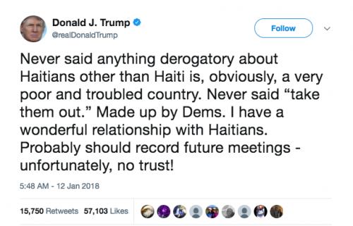 """""""Nunca dije nada despectivo sobre los haitianos aparte de que Haití es, obviamente, un país muy pobre y problemático. Nunca dije 'sácalos'. Fue inventado por los dems (demócratas). Tengo una relación maravillosa con los haitianos. Probablemente debería registrar reuniones futuras. Desafortunadamente, ¡no hay confianza!"""". (Foto: captura de pantalla)"""