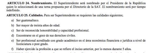El Directorio de la SAT debe definir una terna de la cual elegirá el mandatario Jimmy Morales. (Foto: captura de pantalla)