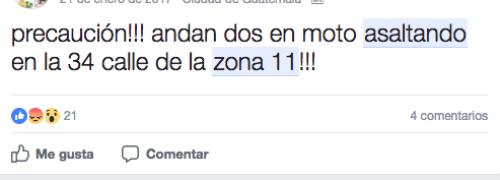 Así se informan en varios grupos de Facebook sobre asaltos en el área.