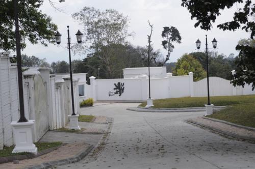 Un león como escudo se encuentra en las entradas de la vivienda de Baldizón en Santa Elena Barillas. (Foto: Wilder López/Soy502)