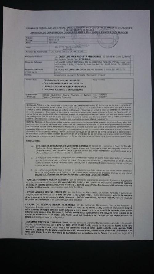 """Esta es la orden de aprehensión contra """"El Chatarras"""", girada desde el 22 de enero por un juzgado en Sololá. (Foto: Soy502)"""