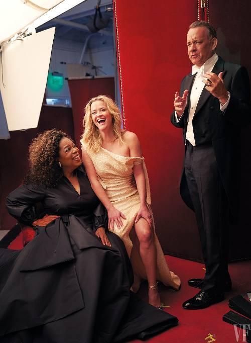 Oprah Winfrey, Reese Witherspoon y Tom Hanks. (Foto: Matthias Gaggl/Vanity Fair)