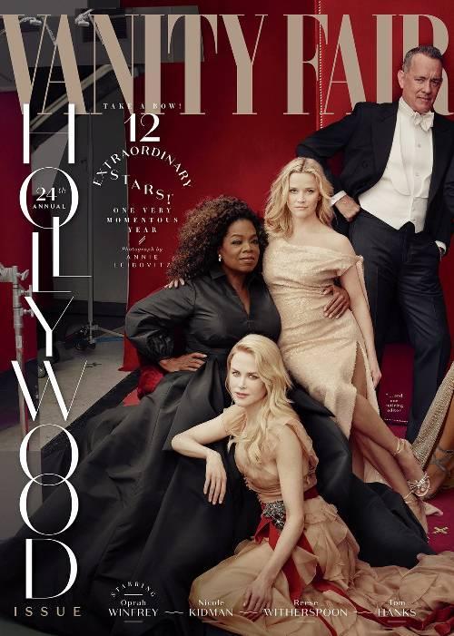 """La portada de """"Vanity Fair"""" con el error de Photoshop, en el que Reese Witherspoon tiene tres piernas. (Foto: Vanity Fair)"""