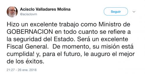 Este es el tuit publicado en la cuenta de Acisclo Valladares Molina.