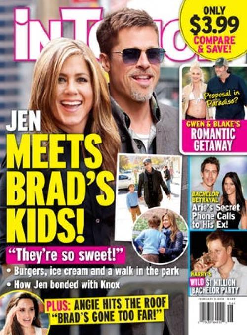 Una fotografía muestra a Jennifer Aniston con el hijo de Bradd Pitt y Angelina Jolie de nombre Knox de nueve años. (Foto: In Touch Weekly)