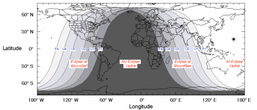 En las regiones claras del mapa, se podrá ver el eclipse. En las oscuras, no se verá. En Guatemala se podrá observar pero parcialmente y por poco tiempo (entre 15 y 41 minutos). (Imagen: Cortesía Edgar Castro Bathen).