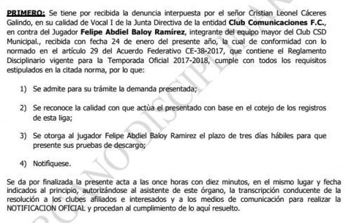 El Órgano Disciplinario de la Liga admitió para su trámite la denuncia de Comunicaciones contra el defensor panameño de Municipal Felipe Baloy. (Foto: LigaGT)