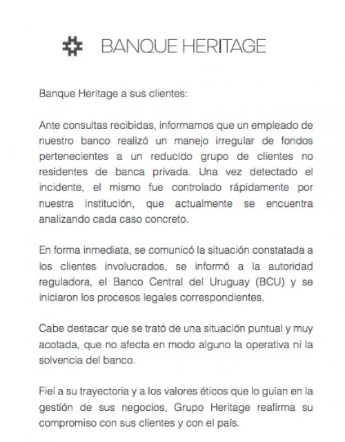 Comunicado del Banque Heritage.