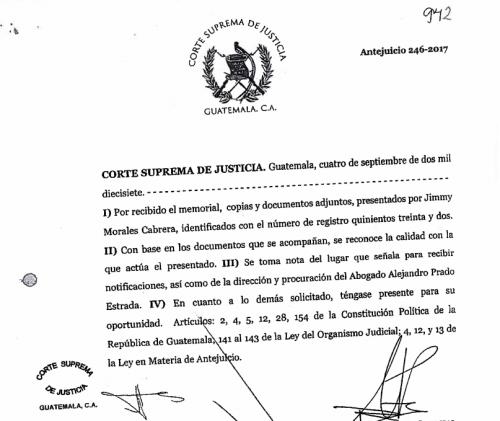 En una de las primeras páginas del fallo de la Corte Suprema de Justicia figura Alejandro Prado Estrada. (Foto: Soy502)