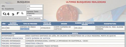 En la base de datos de la Corte de Constitucionalidad quedó registrado la actuación de Alejandro Prado Estrada. (Foto: captura de pantalla)