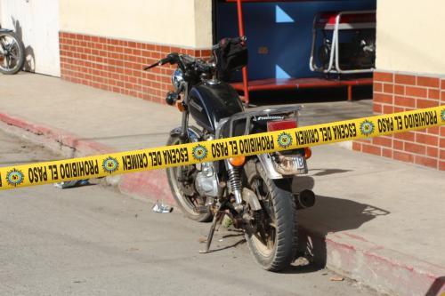 Esta es la motocicleta con la que el presunto responsable atropelló a una persona. (Foto: PNC)