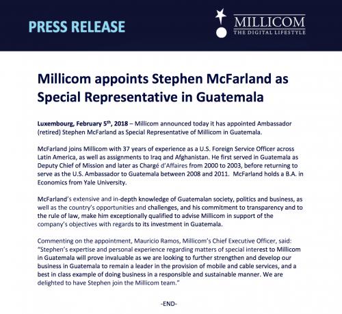 Comunicado de prensa de Millicom.