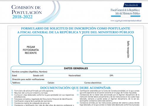 Vista del formulario de solicitud de inscripción para los aspirantes a Fiscal General. Esta es la ficha que ya tiene en sus manos el juez Miguel Ángel Gálvez.