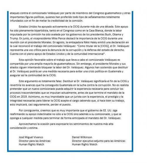Human Rights Watch pide al Gobierno de Estados Unidos que continúe con el apoyo a la CICIG y a Velásquez y que se oponga a terminar de forma anticipada el mandato del Comisionado. (Foto: Daniel Wilkinson/Twitter)