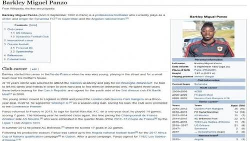 Wikipedia mostraba un palmarés muy distinto a la realidad del jugador. (Imagen: captura de pantalla)