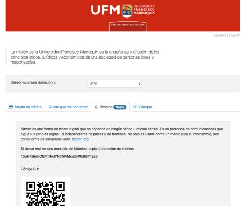 La UFM acepta donaciones en Bitcoins. (Foto: Soy502)