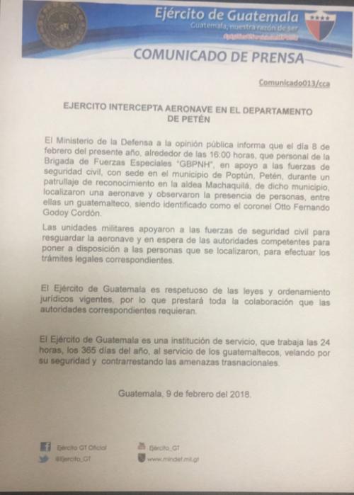 Este es el comunicado del Ejército en el que confirma que el detenido es coronel de alta.