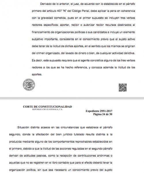 La CC ordena que los jueces deben emitir una sanción menor para los que aceptaron financiamiento de origen desconocido. (Imagen: Soy502)